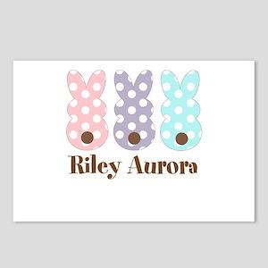 Custom name Polka dot bunnies Postcards (Package o