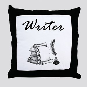Writer Books and Quill Throw Pillow