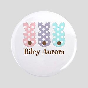 Custom Name Polka Dot Bunnies Button