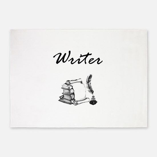 Writer Books and Quill 5'x7'Area Rug