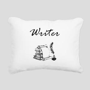 Writer Books and Quill Rectangular Canvas Pillow