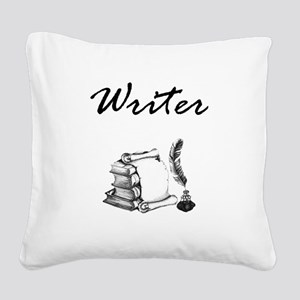 Writer Books and Quill Square Canvas Pillow