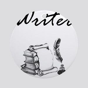 Writer Books and Quill Round Ornament