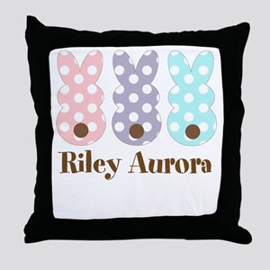 Custom name Polka dot bunnies Throw Pillow