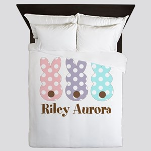 Custom name Polka dot bunnies Queen Duvet