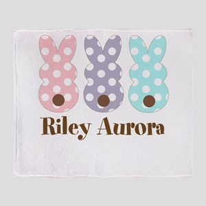 Custom name Polka dot bunnies Throw Blanket