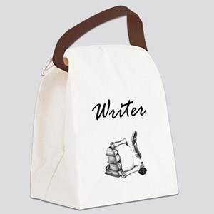 Writer Books and Quill Canvas Lunch Bag