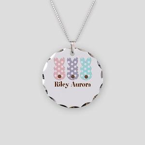 Custom name Polka dot bunnies Necklace