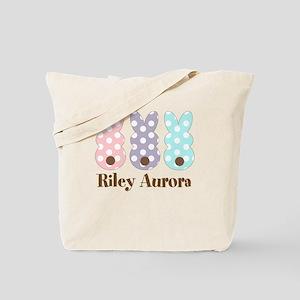 Custom name Polka dot bunnies Tote Bag