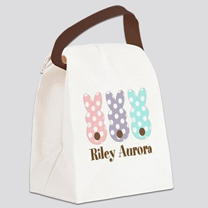 Custom name Polka dot bunnies Canvas Lunch Bag