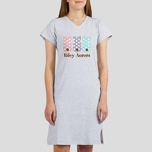 Custom name Polka dot bunnies Women's Nightshirt