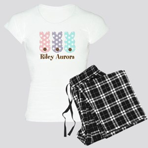Custom name Polka dot bunnies Pajamas