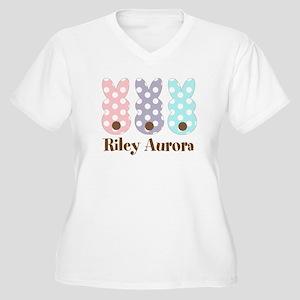 Custom name Polka dot bunnies Plus Size T-Shirt