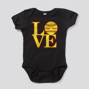 Personalized Love Softball Baby Bodysuit