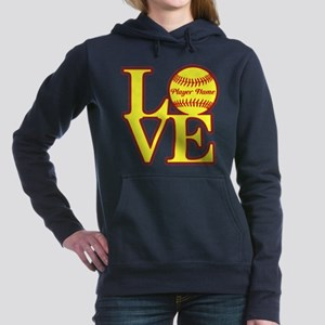 Personalized Love Softball Women's Hooded Sweatshi