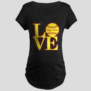 Personalized Love Softball Maternity T-Shirt