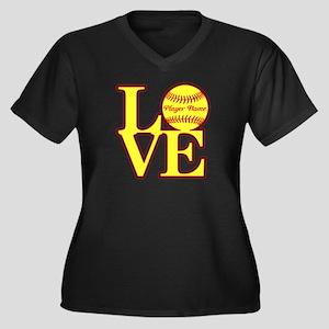 Personalized Love Softball Plus Size T-Shirt
