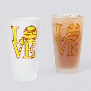 Personalized Love Softball Drinking Glass
