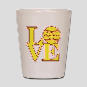 Personalized Love Softball Shot Glass