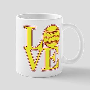 Personalized Love Softball Mugs