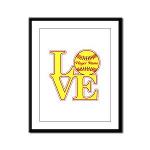 Personalized Love Softball Framed Panel Print