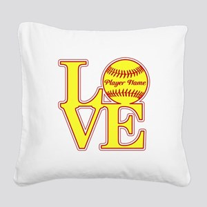 Personalized Love Softball Square Canvas Pillow