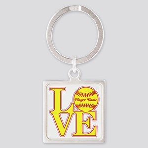 Personalized Love Softball Keychains