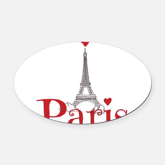 I love Paris Oval Car Magnet