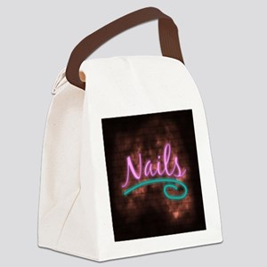 Neon Nails Sign Canvas Lunch Bag