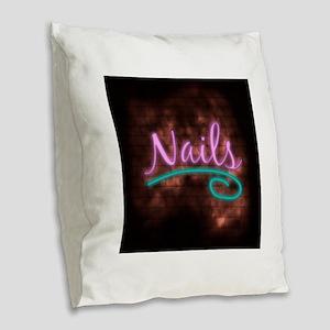 Neon Nails Sign Burlap Throw Pillow