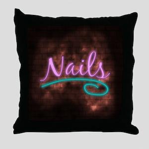 Neon Nails Sign Throw Pillow