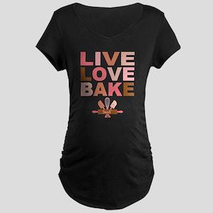 Live Love Bake Maternity Dark T-Shirt