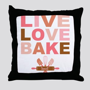Live Love Bake Throw Pillow