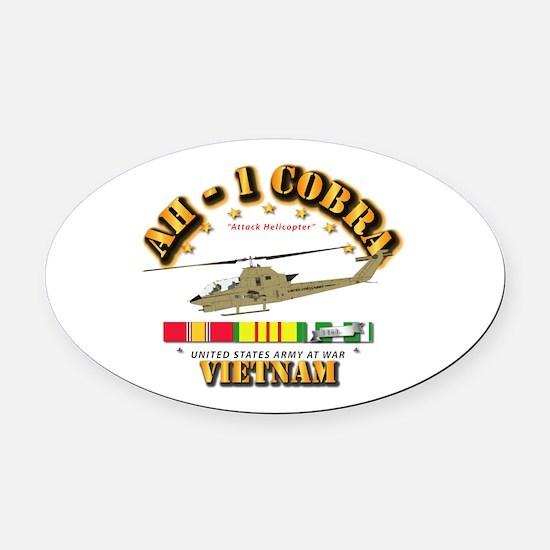AH-1 - Cobra w VN Svc Ribbons Oval Car Magnet