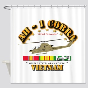 AH-1 - Cobra w VN Svc Ribbons Shower Curtain
