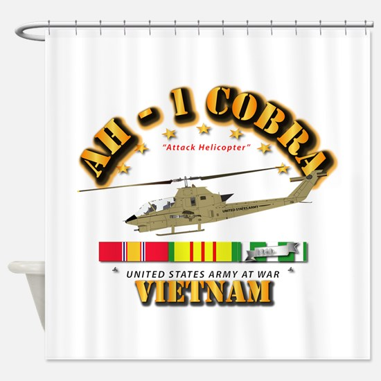 AH-1 - Cobra w VN Svc Ribbons Shower Curtain
