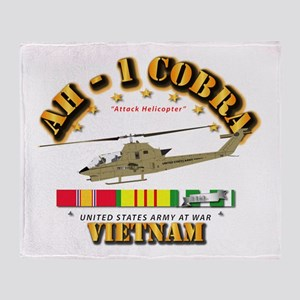 AH-1 - Cobra w VN Svc Ribbons Throw Blanket