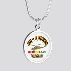 AH-1 - Cobra w VN Svc Ribbon Silver Round Necklace