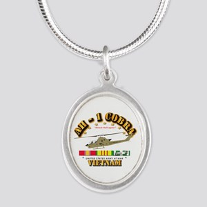 AH-1 - Cobra w VN Svc Ribbons Silver Oval Necklace