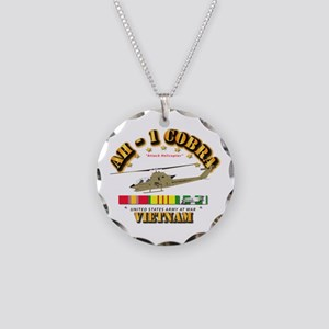 AH-1 - Cobra w VN Svc Ribbon Necklace Circle Charm