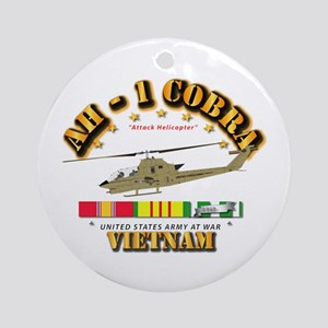 AH-1 - Cobra w VN Svc Ribbons Round Ornament