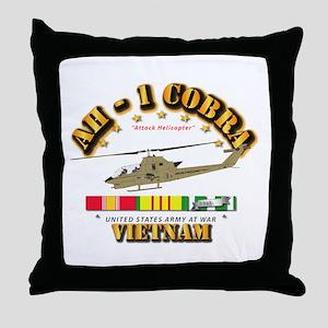 AH-1 - Cobra w VN Svc Ribbons Throw Pillow