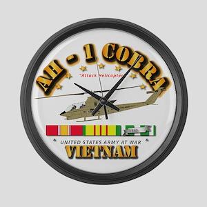 Ah-1 - Cobra W Vn Svc Ribbons Large Wall Clock
