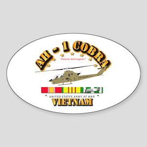 AH-1 - Cobra w VN Svc Ribbons Sticker (Oval)
