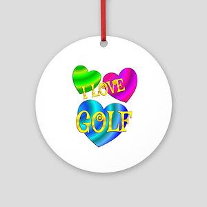 I Love Golf Round Ornament