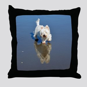 Westie Beach Reflection Throw Pillow