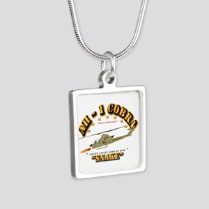 AH-1 Cobra - Snake Silver Square Necklace