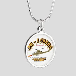 AH-1 Cobra - Snake Silver Round Necklace