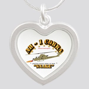 AH-1 Cobra - Snake Silver Heart Necklace