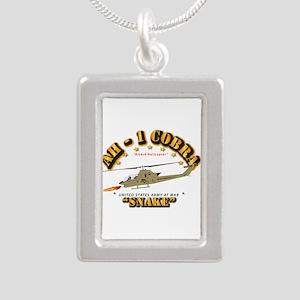 AH-1 Cobra - Snake Silver Portrait Necklace